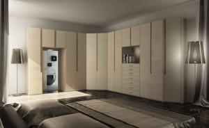 Corner closet unit in bedroom