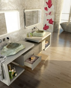 marble double faucets in bathroom